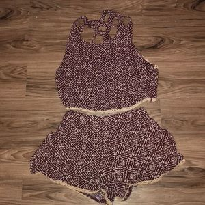 Pants - Maroon romper with beading